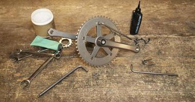High angle bike parts arrangement photo