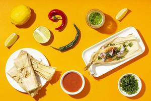 Top view arrangement of tamales ingredients photo