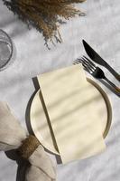 Minimal white table assortment photo