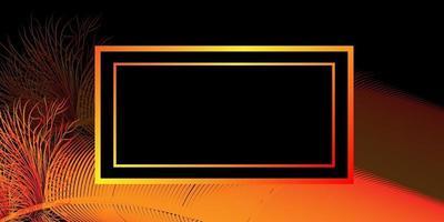 La imagen de fondo es en negro con brillantes plumas de pájaro de color rojo y naranja y una caja para su inscripción. vector