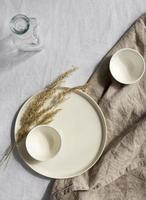 Minimal white table arrangement for party photo