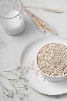 Oatmeal composition with milk photo