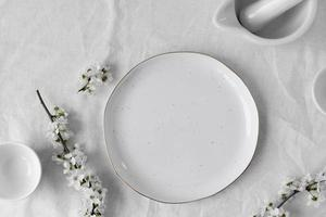 White table for meal arrangement photo