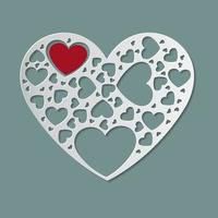Beautiful white paper cut heart shape and red heart inside vector