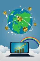 portátil de negocios con bitcoin gold vector