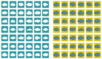 Clouds line art icons vector