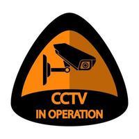 Señal de vigilancia de etiqueta de cámara CCTV vector