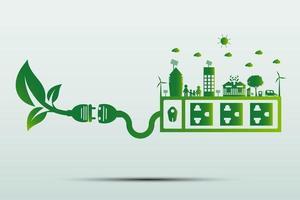 ideas de tecnología de energía verde para el medio ambiente vector