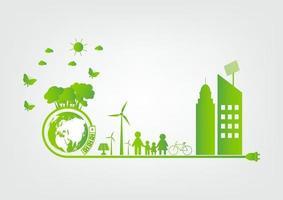 Green energy technology ideas for the environment vector