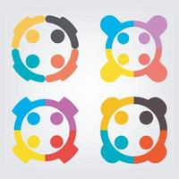 Set of team connection icons vector