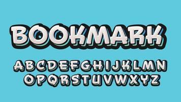 White 3D Sticker Style Cartoon Custom Typography vector