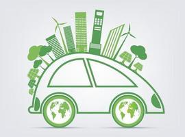 Eco Friendly Green Car Concept vector