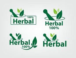 green herbal logo templates vector