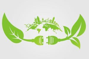 enchufes de tecnología verde y ciudades verdes. vector