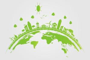 ecología, las ciudades verdes ayudan al mundo con ideas conceptuales ecológicas vector