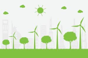 aerogeneradores con árboles y sol. vector