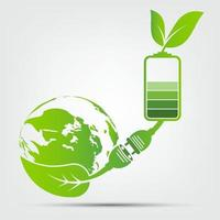 Tierra verde con enchufe y batería. vector