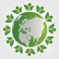 ecology concept green teamwork leaves around the globe vector