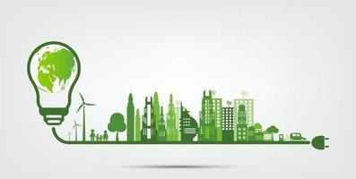 Eco light bulb and green city vector