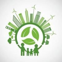 Family Ecology and Environmental Concept With Green Leaves Around Cities vector