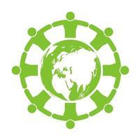 Green people around eco friendly globe vector