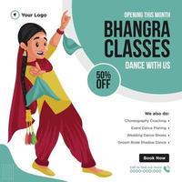 diseño de banner de las clases de bhangra que abren este mes vector