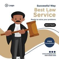 Banner design of best law service cartoon style template vector