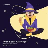 Banner design of world best astrologer cartoon style template vector