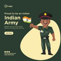 Banner design of proud to be an indian army cartoon style template vector