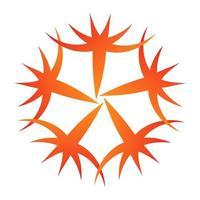 Flower spinning swirls circular orange vector