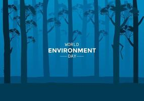 World Environment Day With Night Forest vector