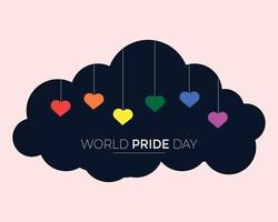 World Pride Day With Cloud And Heart vector