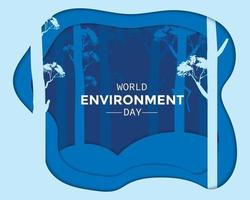 World Environment Day Night Forest Paper vector