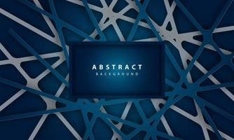 Abstract background with linear deep blue paper shapes vector