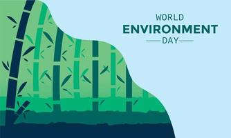 Flat World Environment Day With Bamboo Forest vector