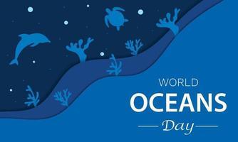 día mundial de los océanos dolpin turtle vector coral