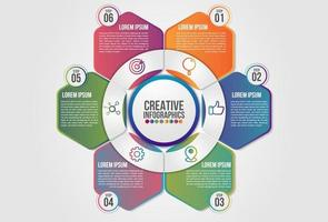 Infographics chart 6 steps options business concept vector
