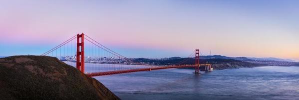 Panorama view of Golden Gate bridge on twilight time, San Francisco, USA. photo