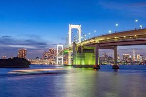 Panorama view of Tokyo skyline in the evening. photo