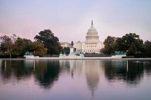 The United States Capitol Building, seen from reflection pool on dusk. Washington DC, USA. photo