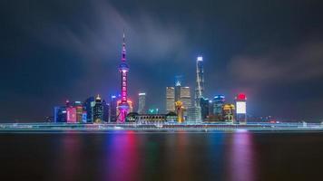 El lado de pudong del horizonte de la ciudad de Shanghai mirando a través del río Huangpu en el crepúsculo. foto