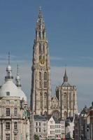 Cityscape and a cathedral of our lady in Antwerp Belgium photo