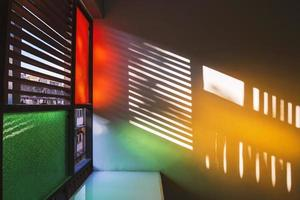 Silhouette of retro windows and color from vintage glass. photo
