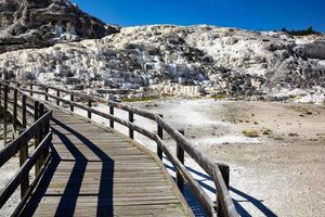 Minerva Terrace at the Mammoth Hot Springs. Yellowstone National Park. Wyoming. USA. August 2020 photo