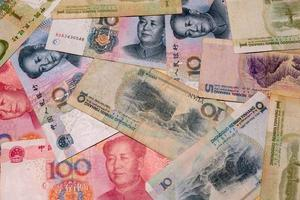 Yuan notes closeup. Chinese money is background - Image photo