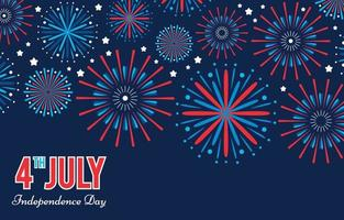 4th July American Independence Day with Flat Fireworks vector