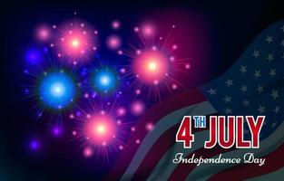 4th July American Independence Day with Realistic Fireworks vector