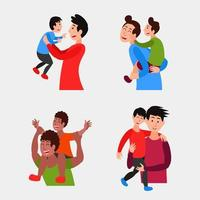 Set of Father's Day Characters vector