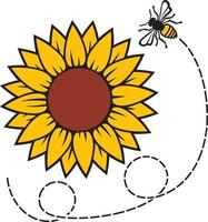 Sunflower and flying bee vector