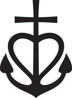Cross Heart Anchor vector